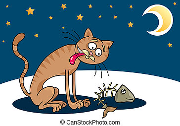 Homeless cat - Cartoon illustration of hungry homeless cat