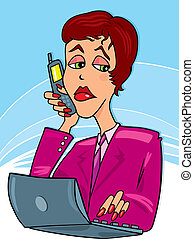 Businesswoman at work - Illustration of businesswoman at...