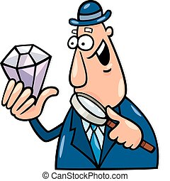 Man with diamond - Cartoon illustration of man with diamond