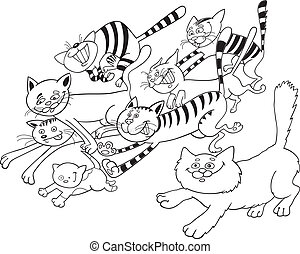 Running cats for coloring book