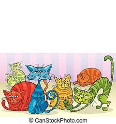 color cats group - funny color cats group cartoon...