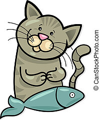 Happy cat with fish - Illustration of happy cat with fish