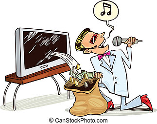 Man receive profit from copyrights - Illustration of singing...