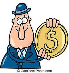 Man with dollar coin
