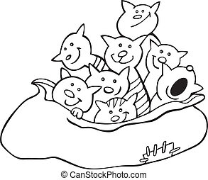 Cats in sack for coloring book - Cartoon illustration of...