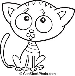 cute kitten for coloring book
