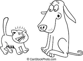 Kitten and dog for coloring book