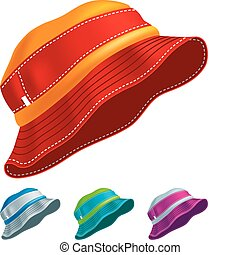 Panama Hat - Set of colored panama hats Vector Illustration