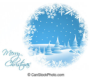 Winter card with snowy landscape