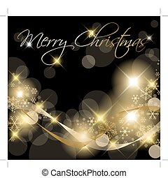 Black and Golden Christmas background card with snowflakes
