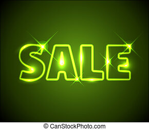 Big green shining neon sale advertisement with sparks