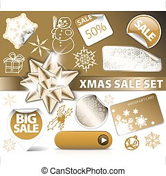 Set of Christmas golden discount tickets, labels, stamps,...