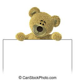 Teddy Bear above a white billboard. - Teddy Bear with an...