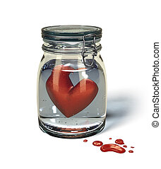 Love's sorrow: Heart in a jar. - Love's Sorrow - red Heart...