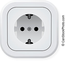 Electric wall outlet - Realistic illustration power outlet...