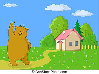Teddy bear against the own house