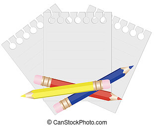 Pencil and paper for notes vector illustration