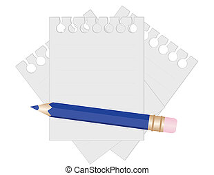 Pencil and paper for notes. vector