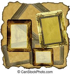 vintage scrapbook old paper with frames