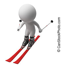 3d small people - skis - 3d small person going on skis. 3d...
