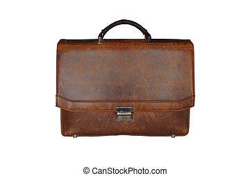 old worn leather briefcase