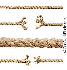 soga, cuerda, riesgo, dañado