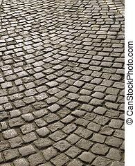 Urban square with cobblestone