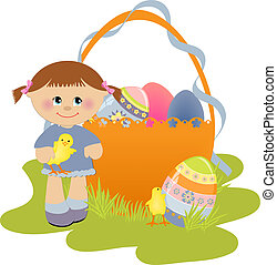 Cute Easter illustration with child