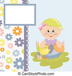 Cute template for Easter postcard