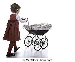 Girl vith vintage pushchair - Girl climbing on the ladder -...