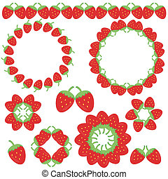 elements and frames with strawberry - decor elements and...