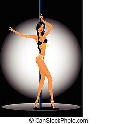 women dancing a striptease - Beautiful silhouette of young...