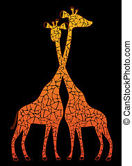 Silhouettes of giraffes