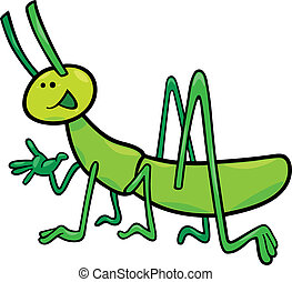 funny grasshopper - cartoon illustration of funny...