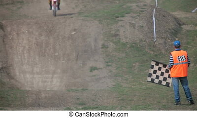 Finish Line Flag - assistant referee for motocross shows...