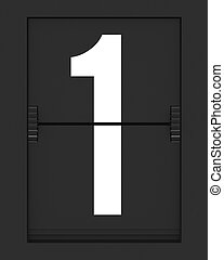 Number 1 from mechanical timetable board - Number from a...
