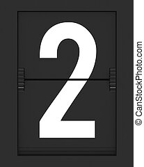 Number 2 from mechanical timetable board - Number from a...
