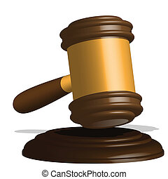 gavel - illustration, wooden gavel to judges on white...