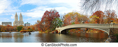 New York City Manhattan Central Park panorama at Autumn with...
