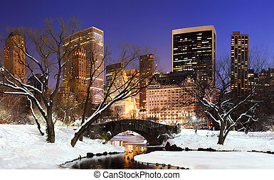New York City Manhattan Central Park panorama at dusk