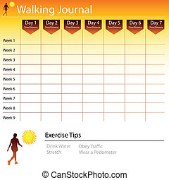 Walking Journal Chart - An image of a walking journal chart