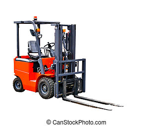 Forklift truck - A forklift truck isolated on white...