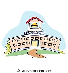 School Building - illustration of school building on...