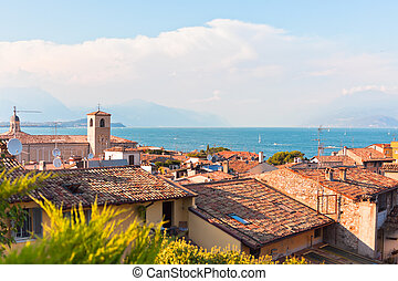View Over Lake Garda and Desenzano town in Italy