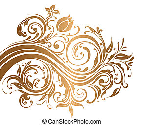 Gold ornament - Beautiful gold ornament with flowers and...