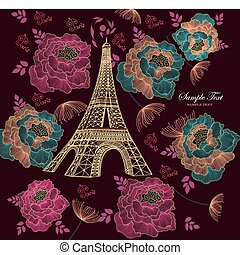 Eiffel tour - Vector card with eiffel tour