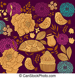 Floral background - Vector seamless floral background