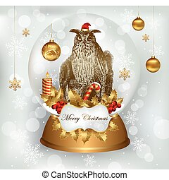 Owl standing in Christmas snowglobe - Vector illustration...