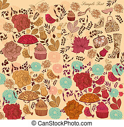 Flowers and diferent elements - Background with flowers and...
