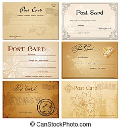 Vintage blank postcard. Vector set - Vintage blank antique...